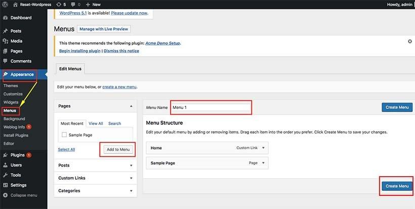 create a menu in WordPress