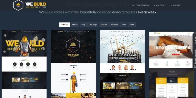 We Build Premium Construction WordPress Themes