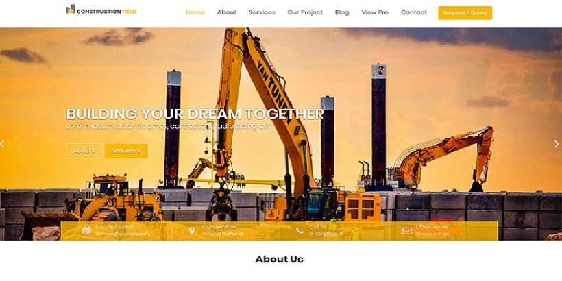 Construction Field Free Construction WordPress Themes