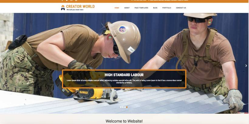 Creator World Free Construction WordPress Themes