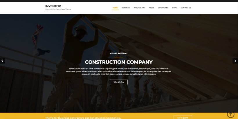 Inventor Free Construction WordPress Themes