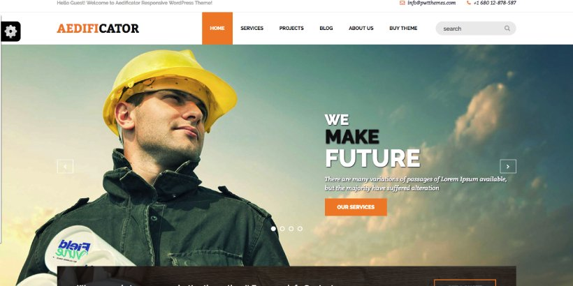 Aedificator Free Construction WordPress Themes