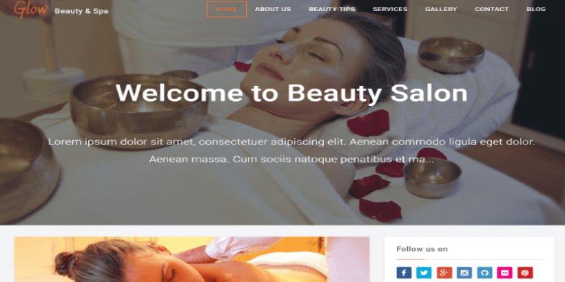 Glow Free Salon and Spa WordPress Themes