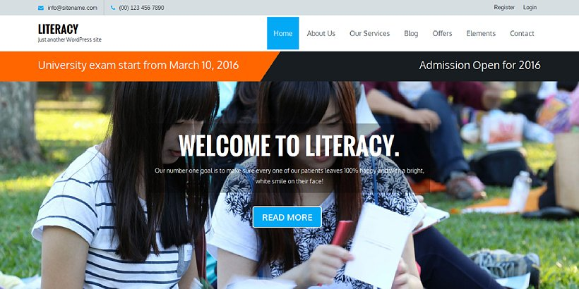 Literacy Free Education WordPress Themes