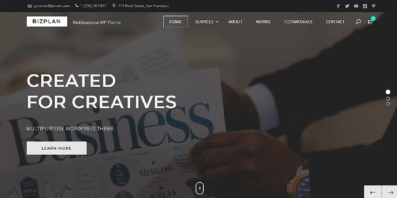 bizplan free corporate wordpress themes