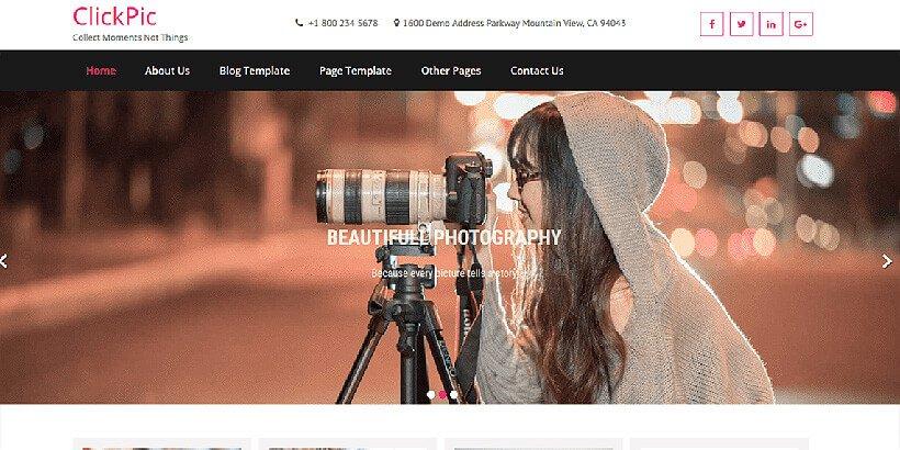 clickpic free photography wordpress themes