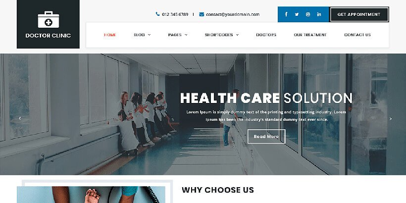 doctorclinic free medical wordpress themes