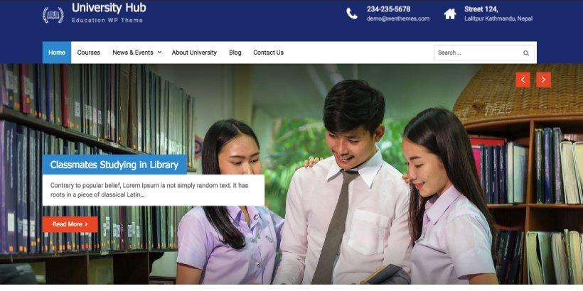 University Hub Free Education WordPress Themes