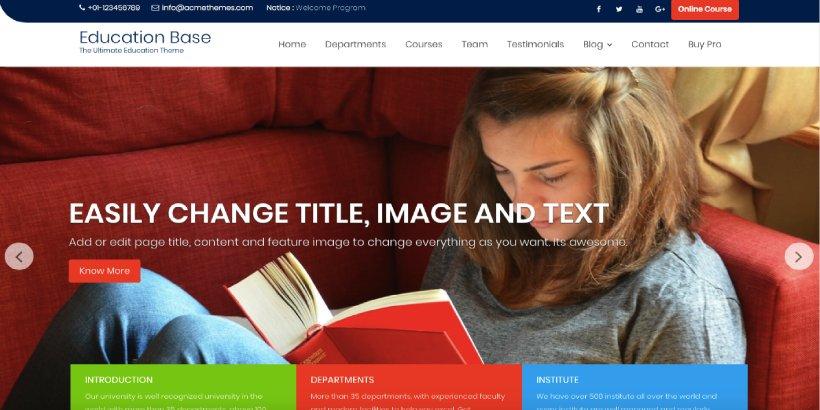 Education Base Free Education WordPress Themes