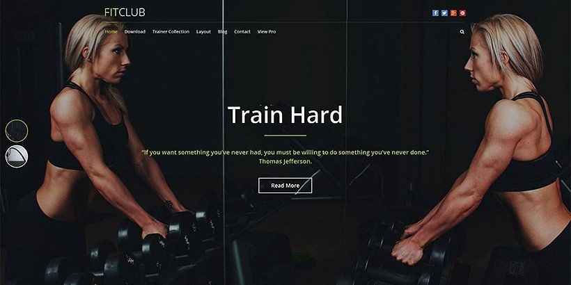 fitclub free fitness wordpress themes