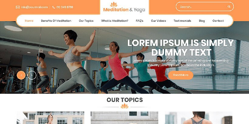 meditation free fitness wordpress themes