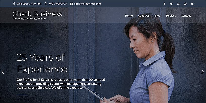 shark free corporate wordpress themes