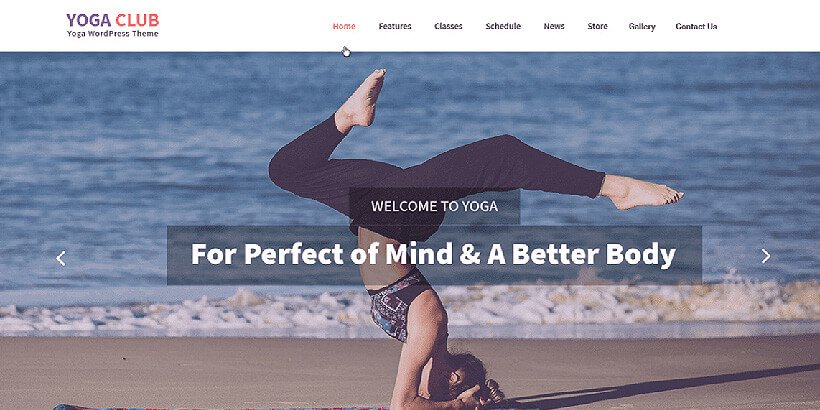 yogaclub free fitness wordpress themes