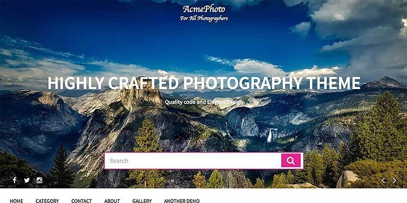acmephoto free photography wordpress themes