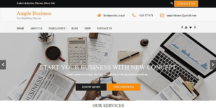 ample free business wordpress themes