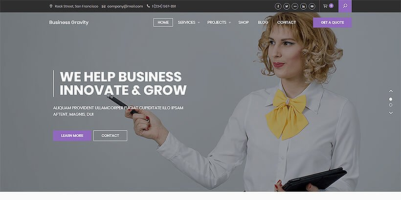 businessgravity free business wordpress themes