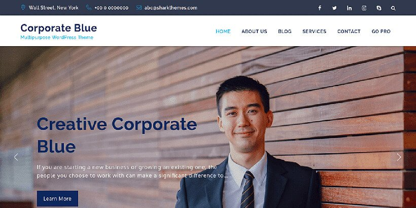 corporateblue free business wordpress themes