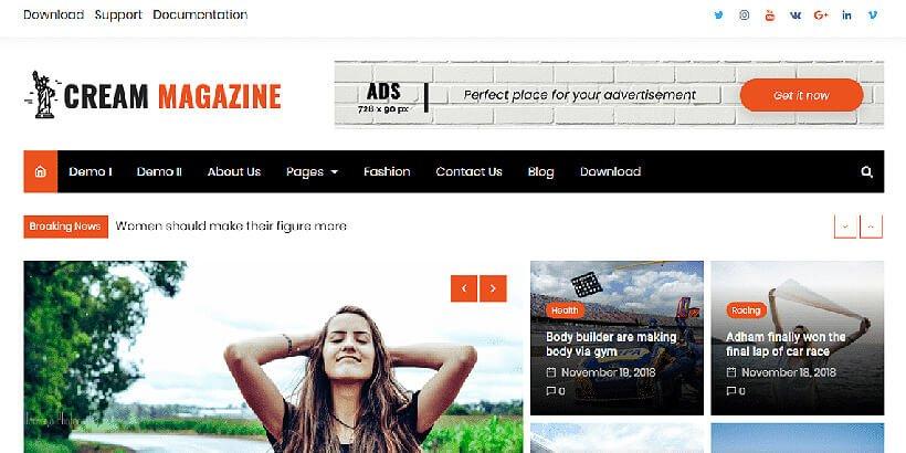 cream free magazine wordpress themes