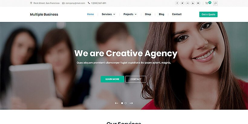 multiplebusiness free business wordpress themes