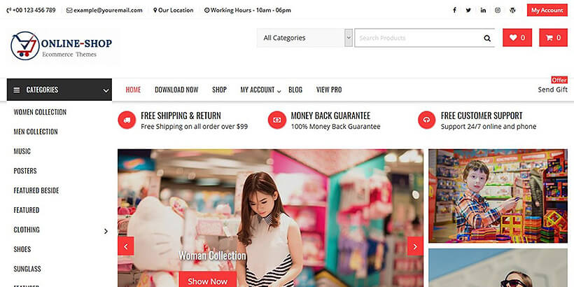 onlineshop free woocommerce themes