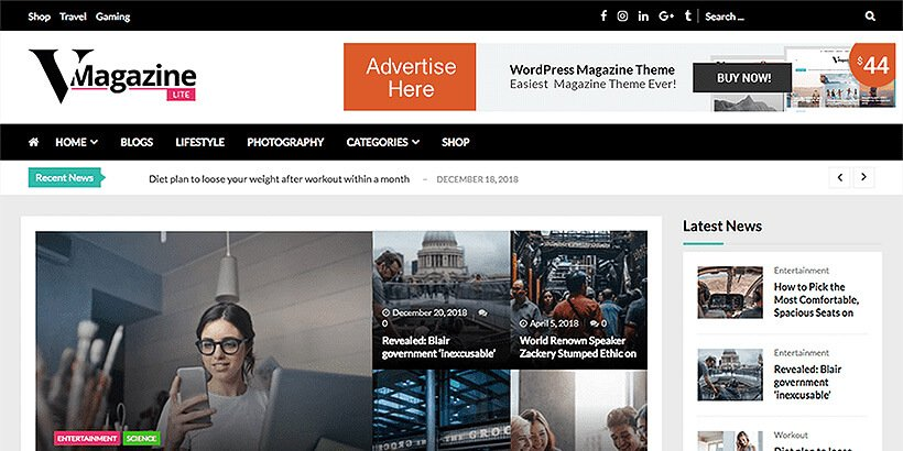 vmagazine free magazine wordpress themes
