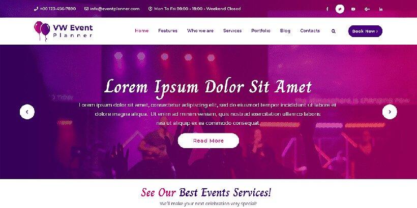 vwevent free event wordpress themes