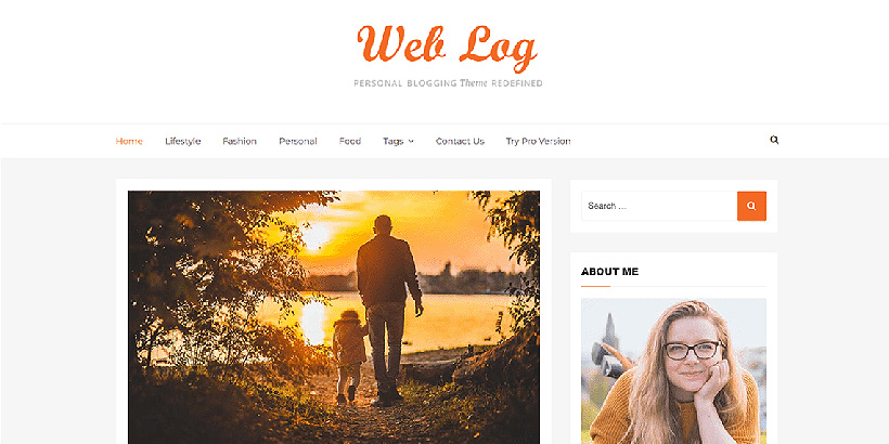 web log free blog wordpress theme
