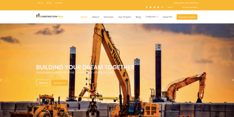 construction field free wordpress themes
