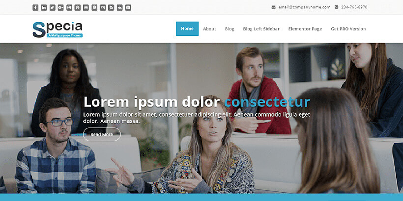 specia free landing page wordpress themes