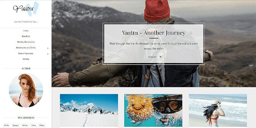 yaatra free landing page wordpress themes