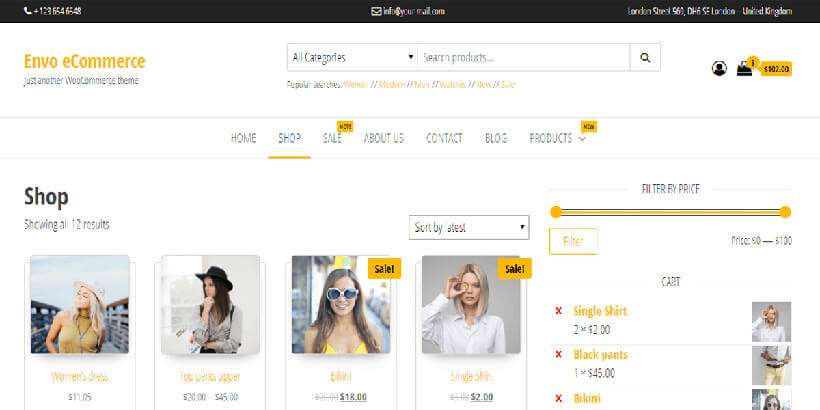 envocommerce most popular themes