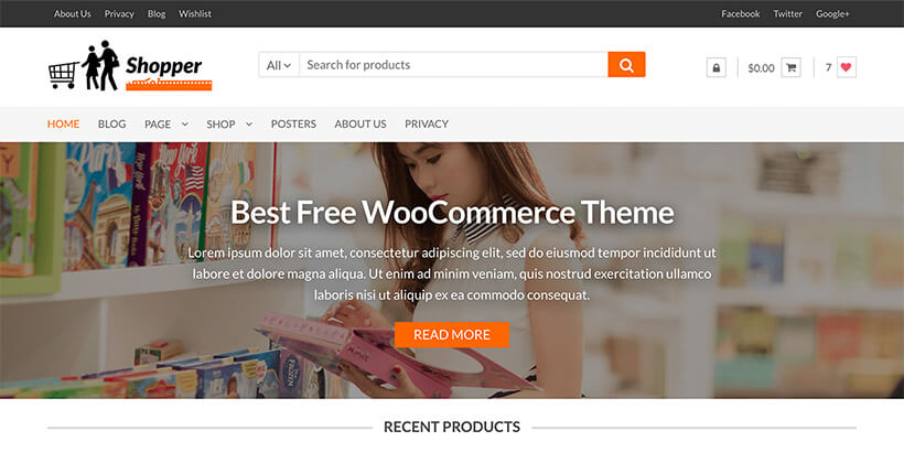 shopper free unique wordpress themes