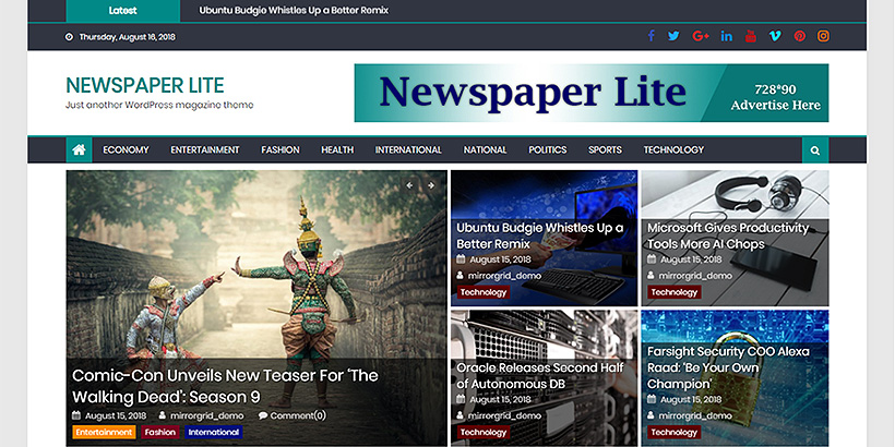 newspaperlite free magazine wordpress themes
