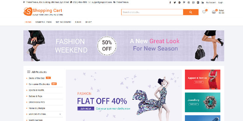shoppingcart free wordpress themes