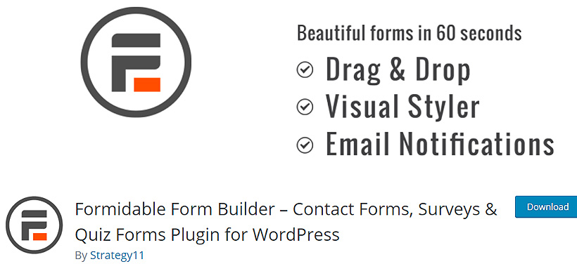 formidable Free WordPress Contact Form Plugins