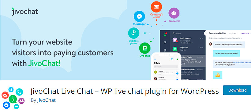 jivochat free wordpress live chat plugin