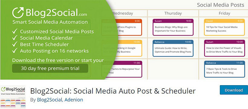 blog2social wordpress auto poster plugins
