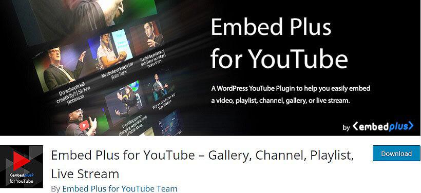embed plus wordpress youtube plugins
